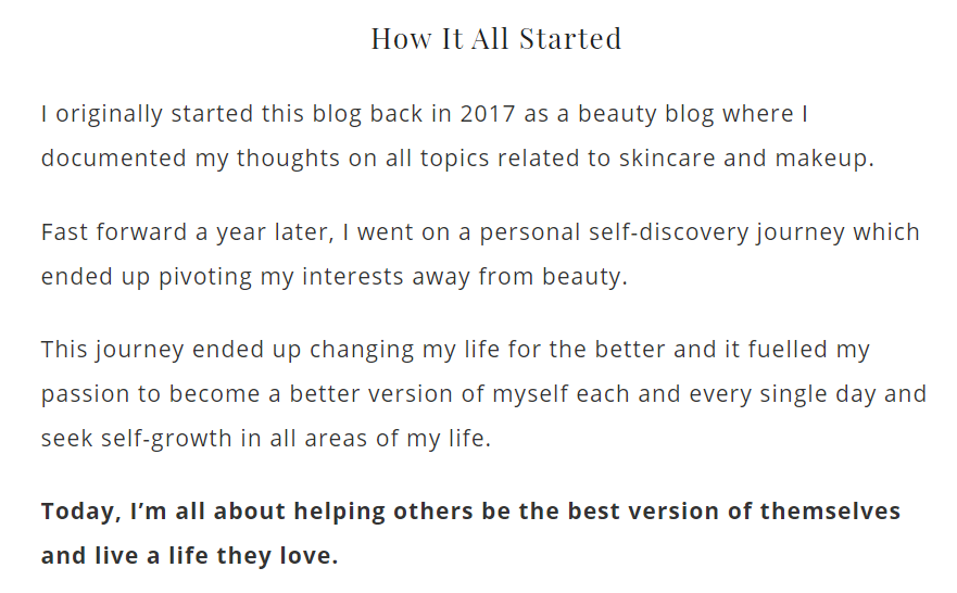 Excerpt from the Glossy Belle blog About Me page