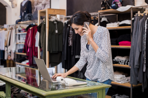 businesswoman checking laptop