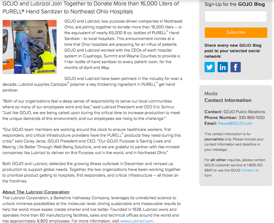 Gojo Crisis Communications and Charity Press Release Example