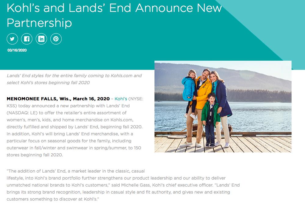 Khol's Partnership Press Release Example