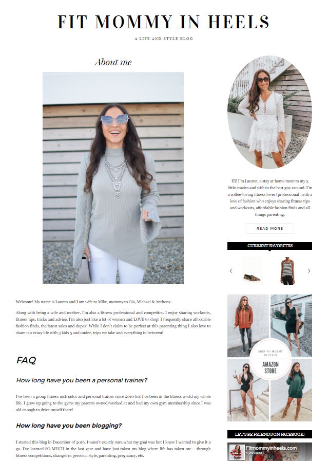 Lauren from the Fit Mommy in Heels blog About Me page