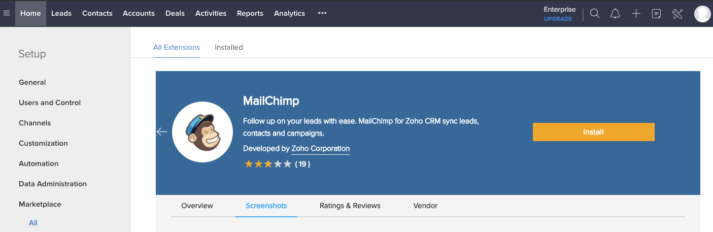 Mailchimp Integration in Zoho