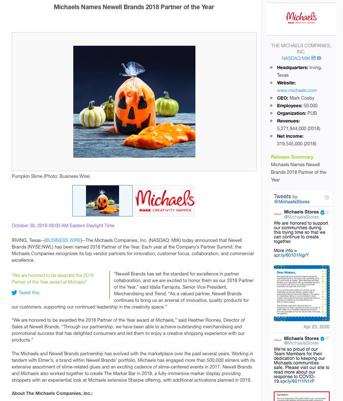 Michaels' Vendor-Recognition Press Release Example