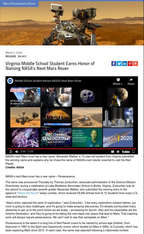 NASA Award Press Release Example
