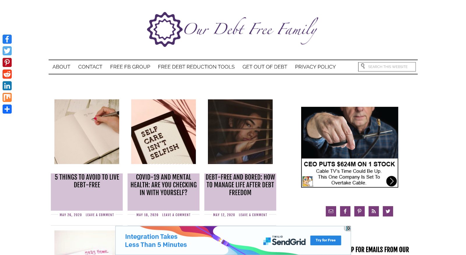 Our Debt Free Family interface
