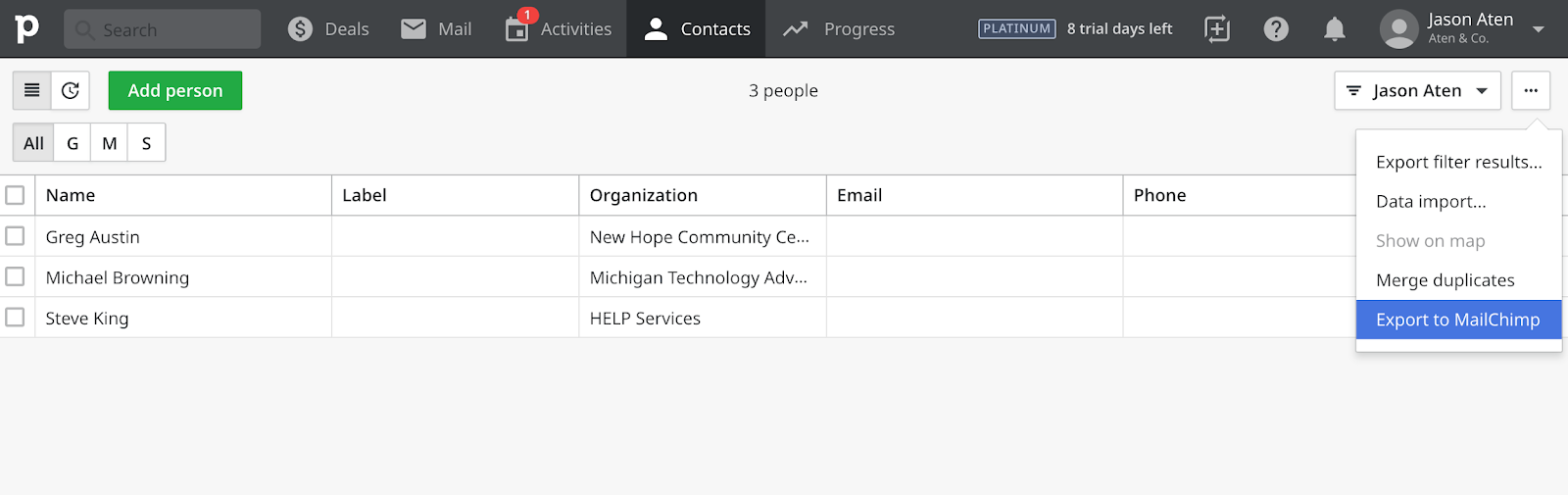 Exporting Contacts from Pipedrive to MailChimp