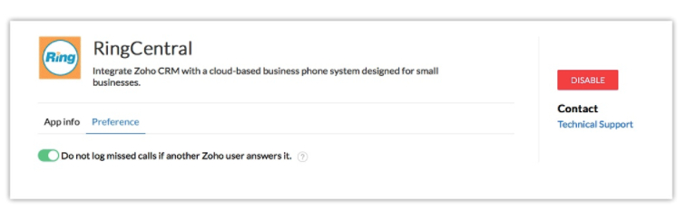 RingCentral missed call preferences