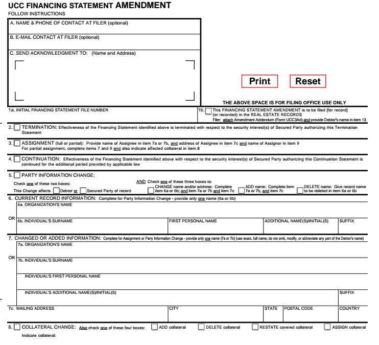 UCC-3 Financing Statement Amendment example