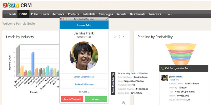 Zoho CRM RingCentral Integration Incoming Call Interface