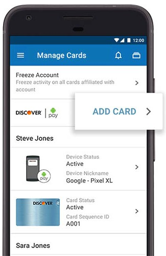 Screenshot of Android Pay eWallet