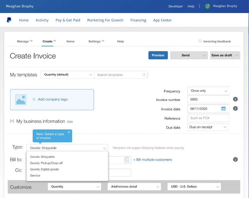 Screenshot of Creating Invoice on PayPal
