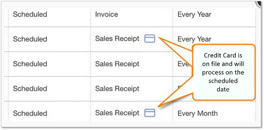 Screenshot of QuickBooks Scheduled Payments
