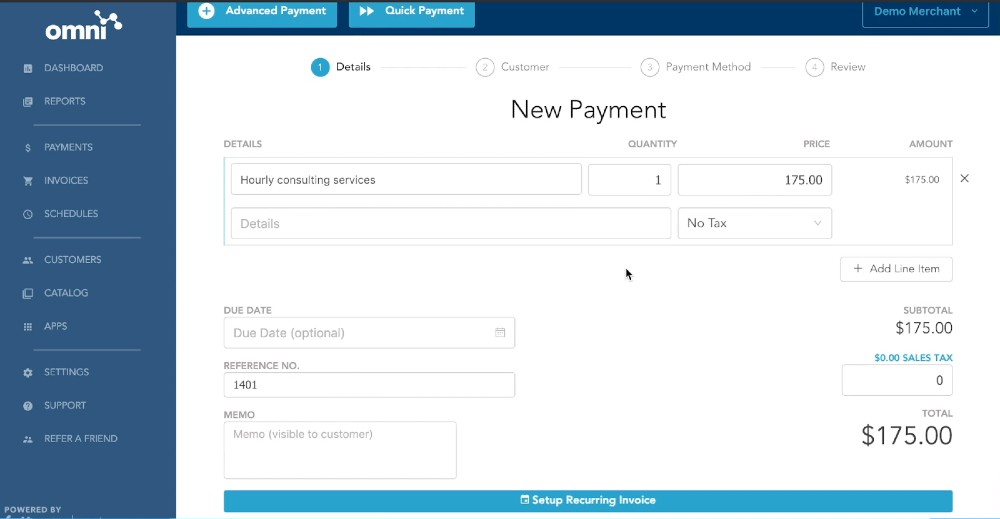 Screenshot of Setting Up Recurring Payment on Fattmerchant in Omni Dashboard