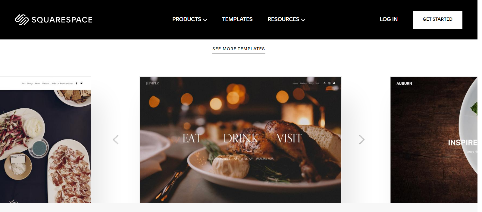 SquareSpace pre-built restaurant website templates
