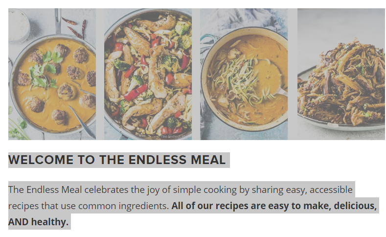 The About page for The Endless Meal blog
