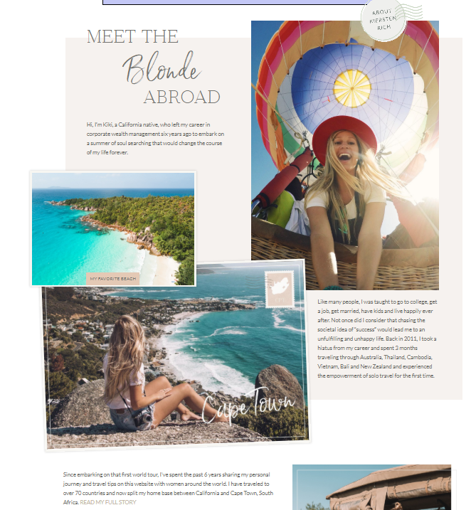 The Blonde Abroad blog About Me page