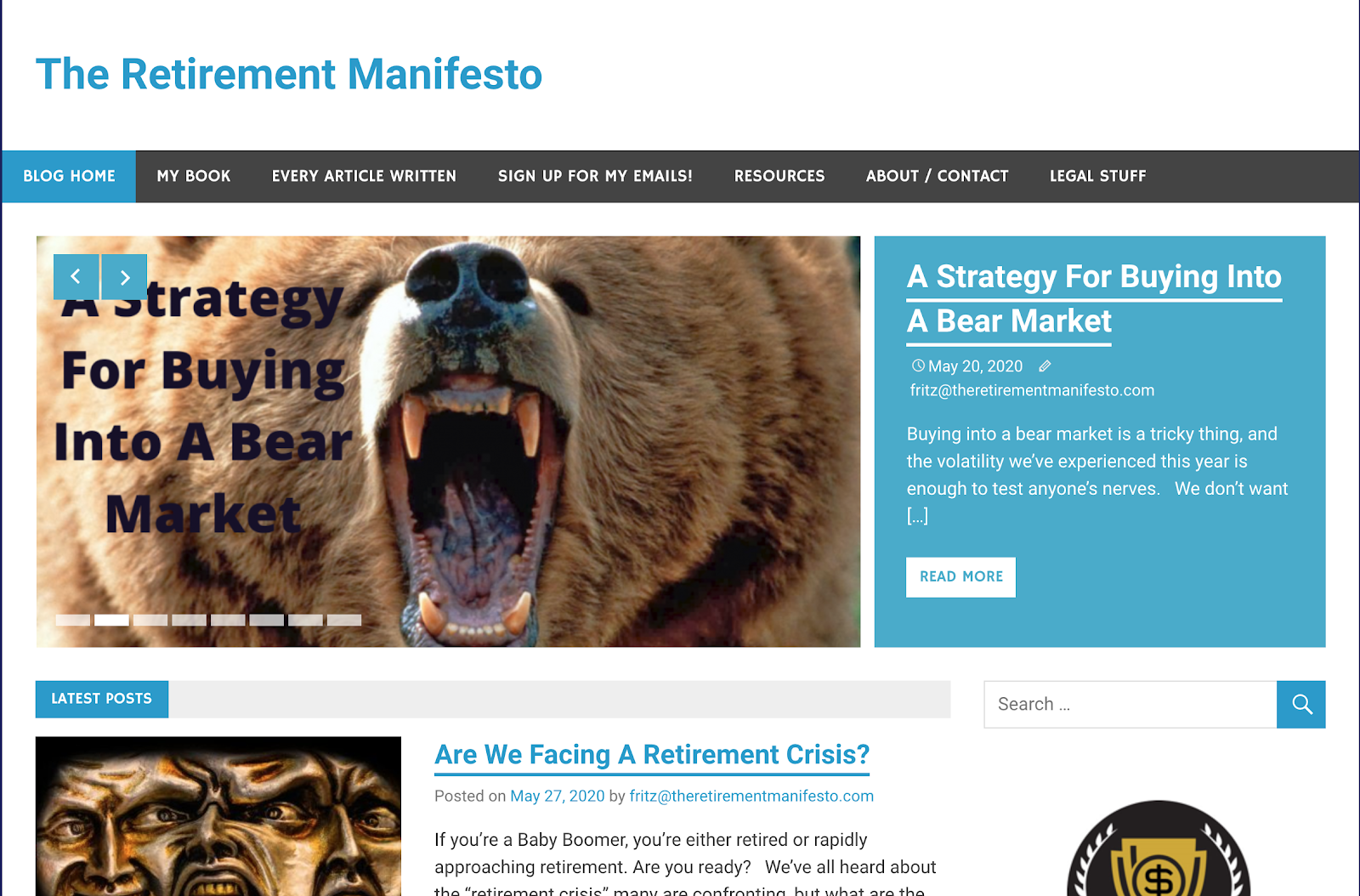 The Retirement Manifesto interface