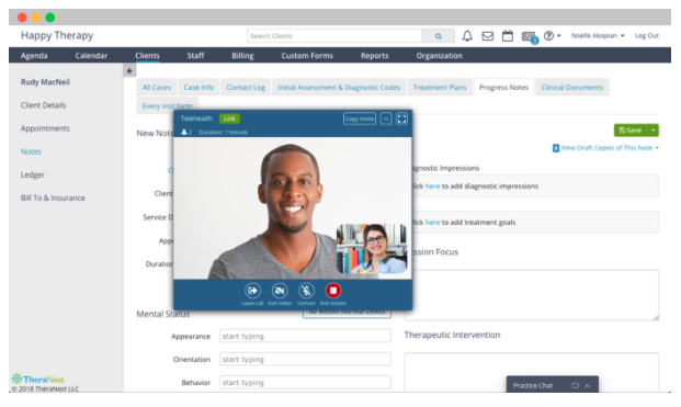 TheraNest's video conferencing dashboard
