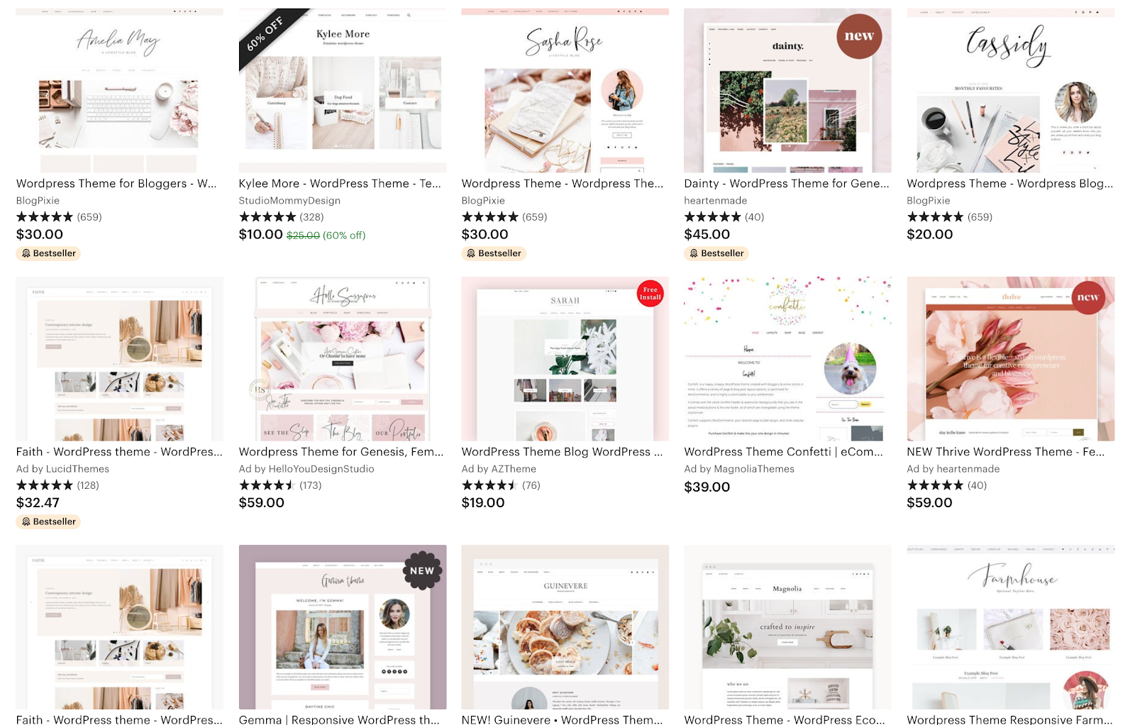 WordPress blog themes interface on Etsy