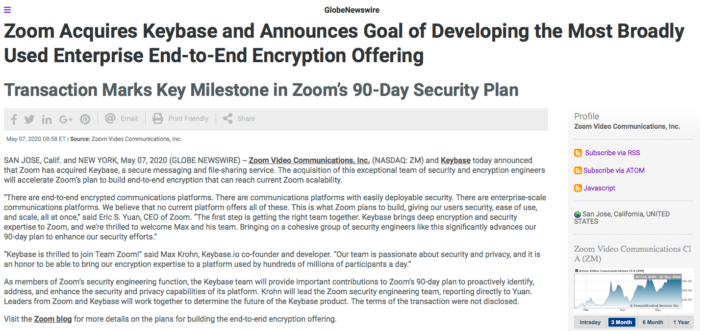 Zoom's Acquisition Press Release Example