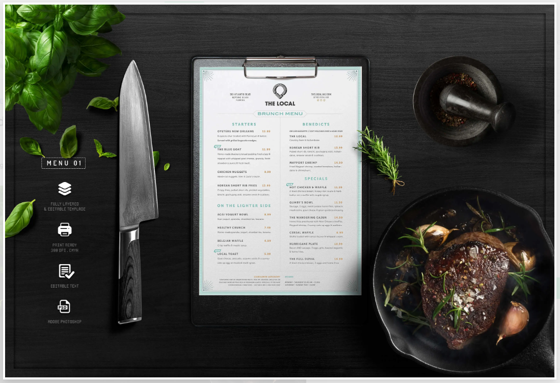 a professional to design a menu template