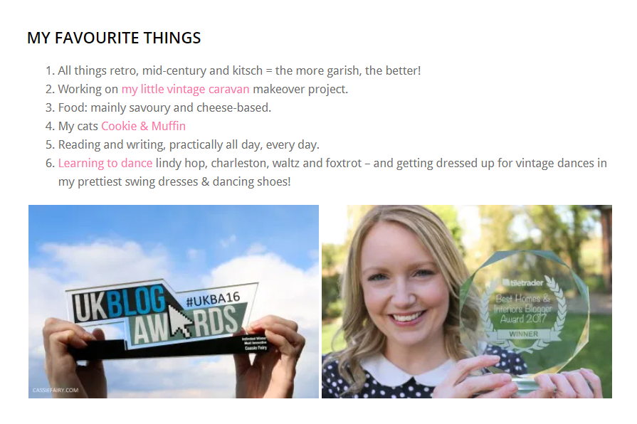 blogger Cassie Fairy and her About page with a My Favorite Things list