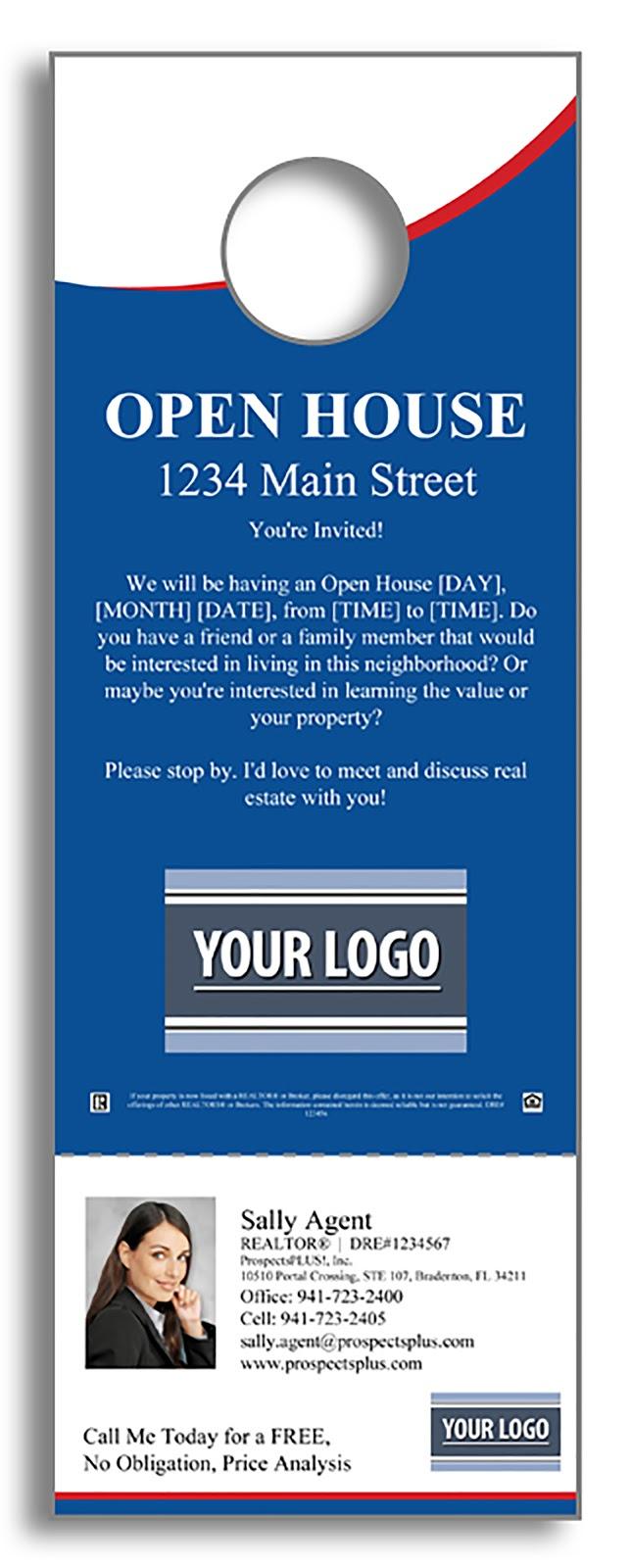 Open House Door hanger Example from ProspectsPlus.