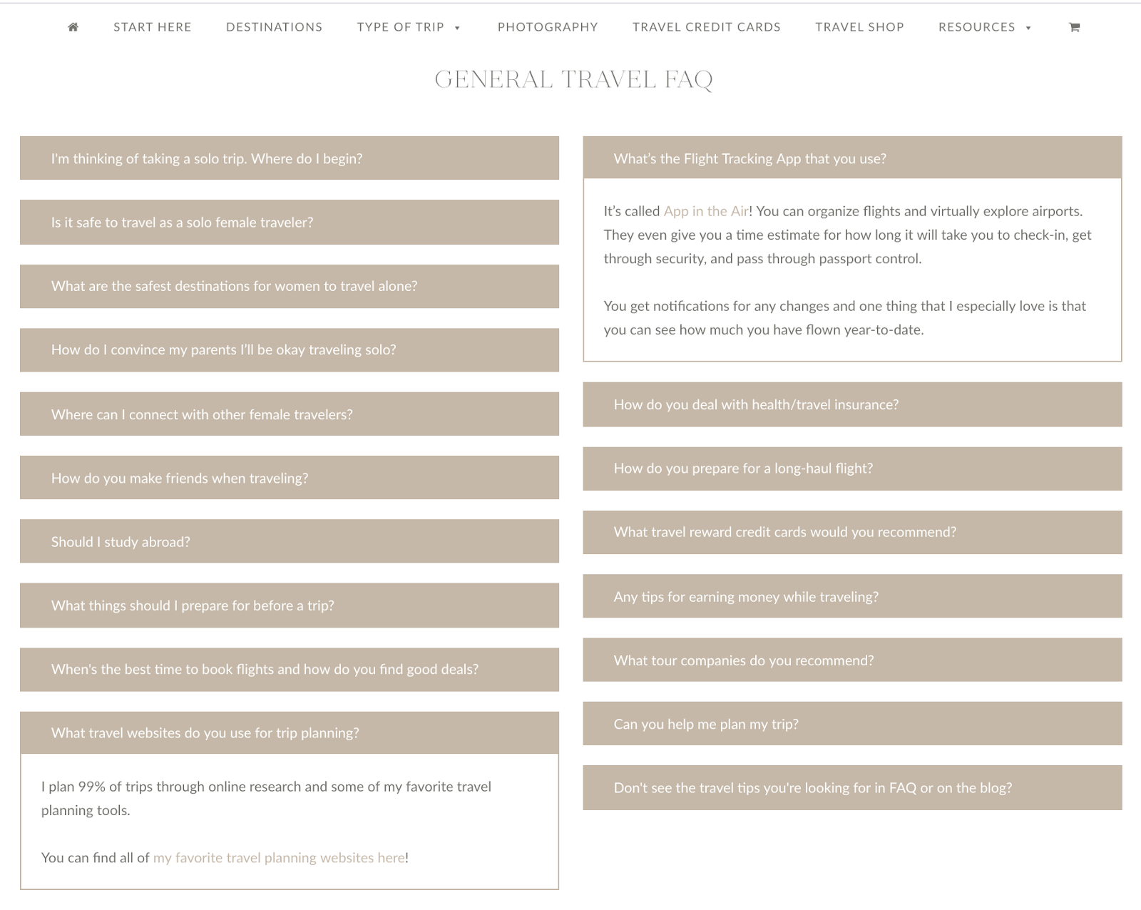 example of an FAQ page linking to blog posts
