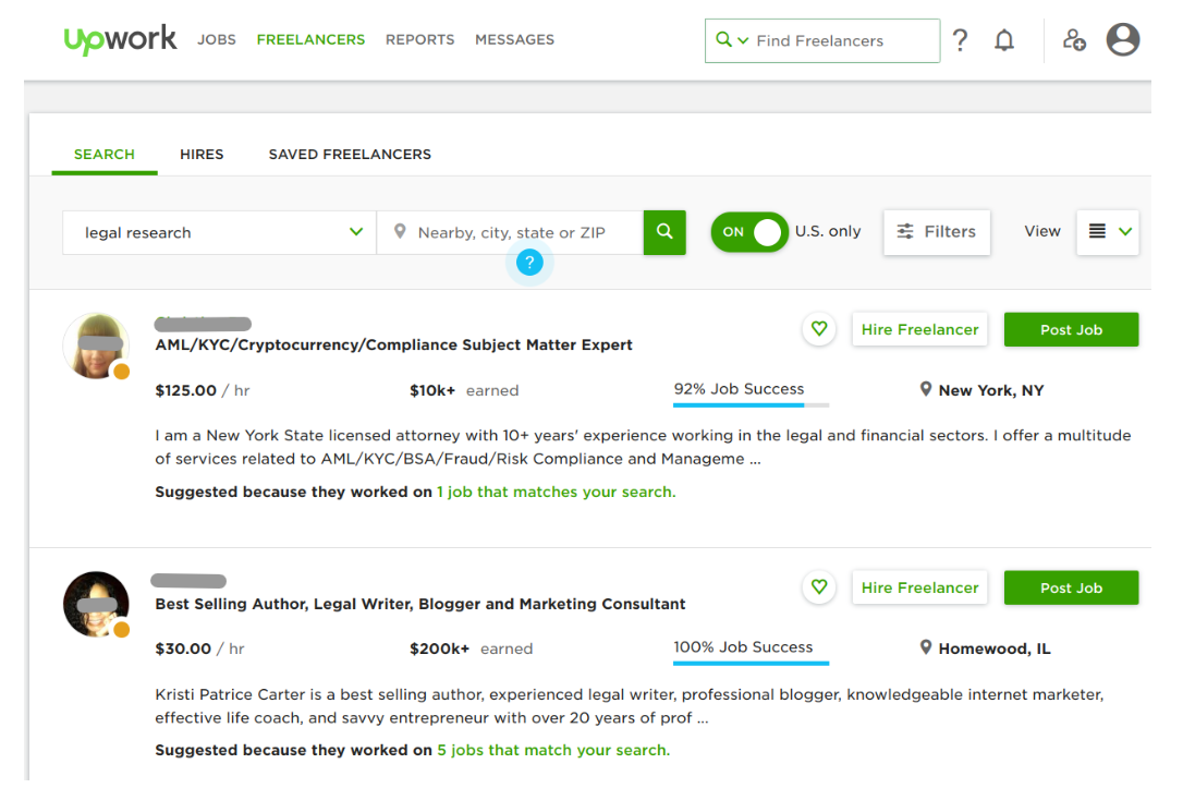 Its search results show freelancers who best match your requirements