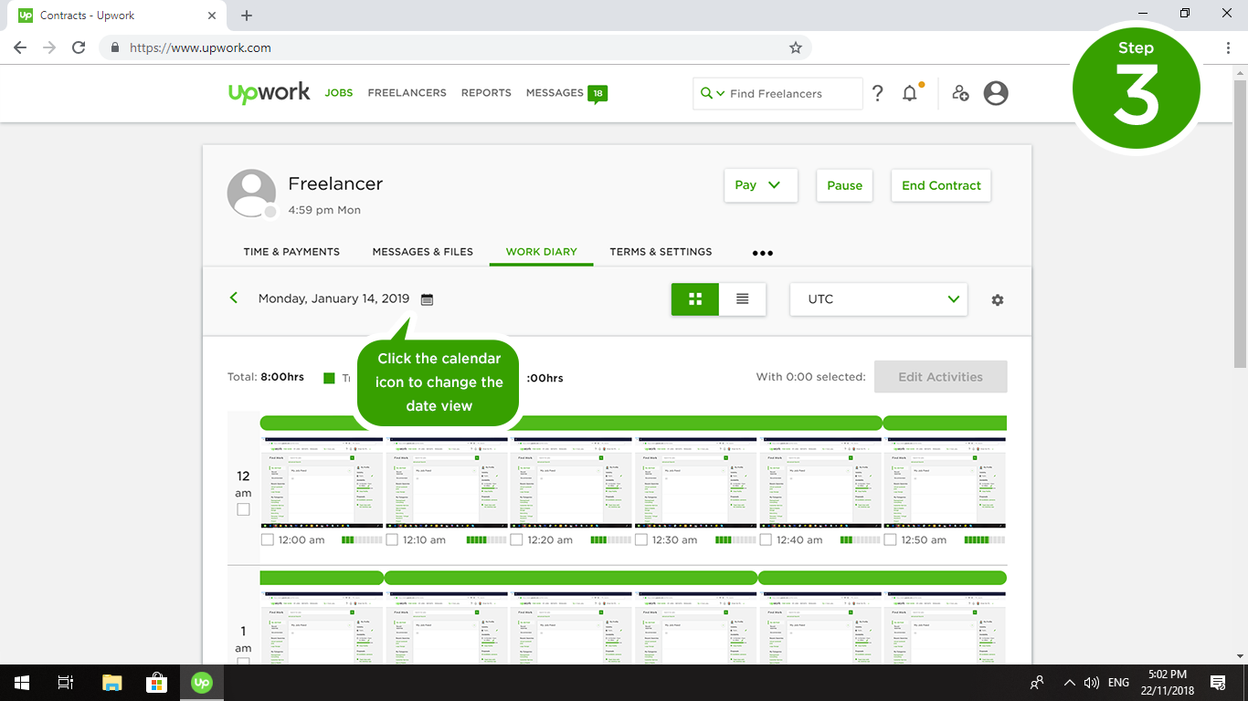 """The """"Work Diary"""" records your freelancer's online activity"""