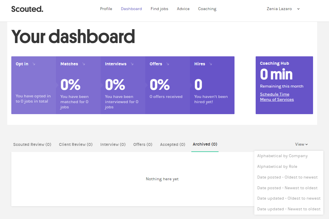 Scouted's user dashboard