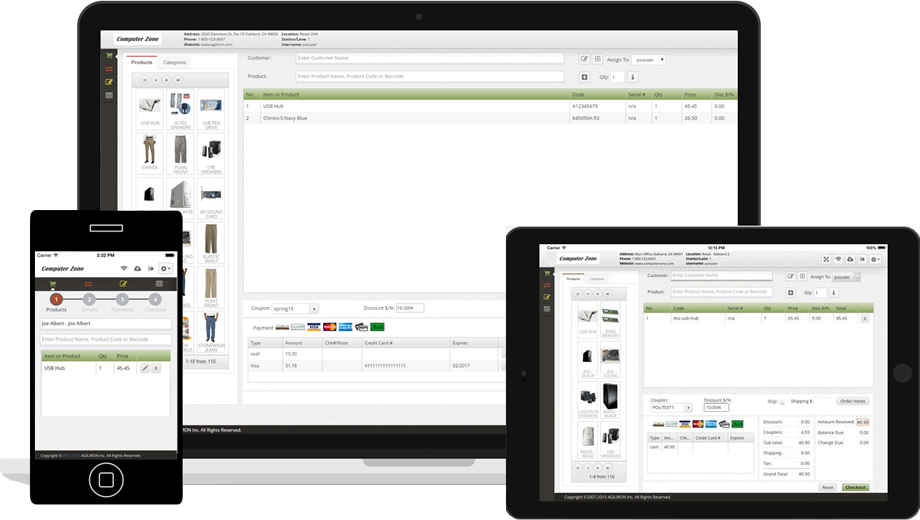 Agiliron's Retail POS works across desktop computers, laptops, and mobile iOS and Android devices