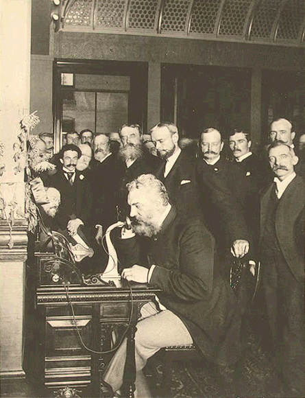Alexander Graham Bell making one of the first long distance calls from New York to Chicago in 1892