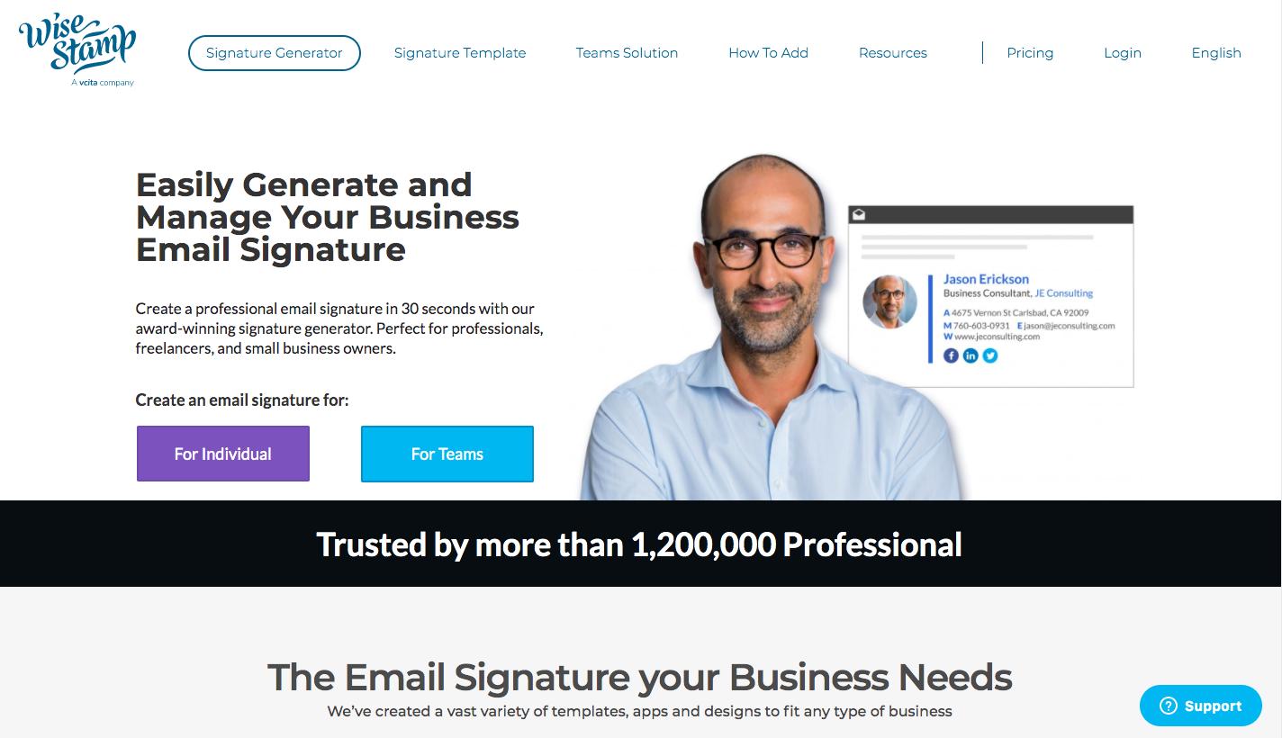 WiseStamp Homepage
