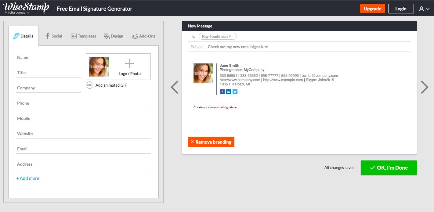 WiseStamp Email Signature Generator