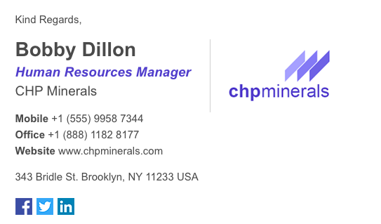 Email Signature from Gimmio