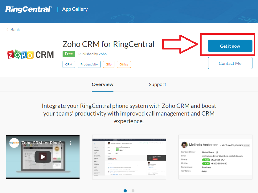 Zoho CRM for RingCentral download prompt