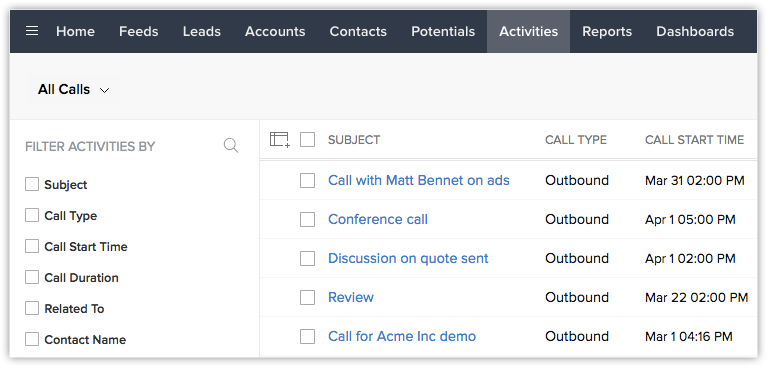 Zoho for RingCentral call history