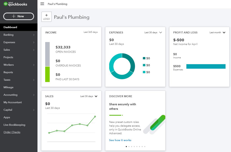 QuickBooks Online Plus Dashboard