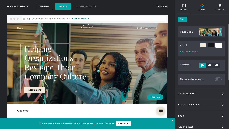 GoDaddy Website Editing Interface
