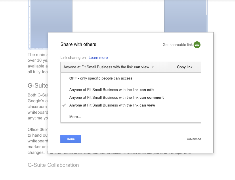 G Suite's document sharing options