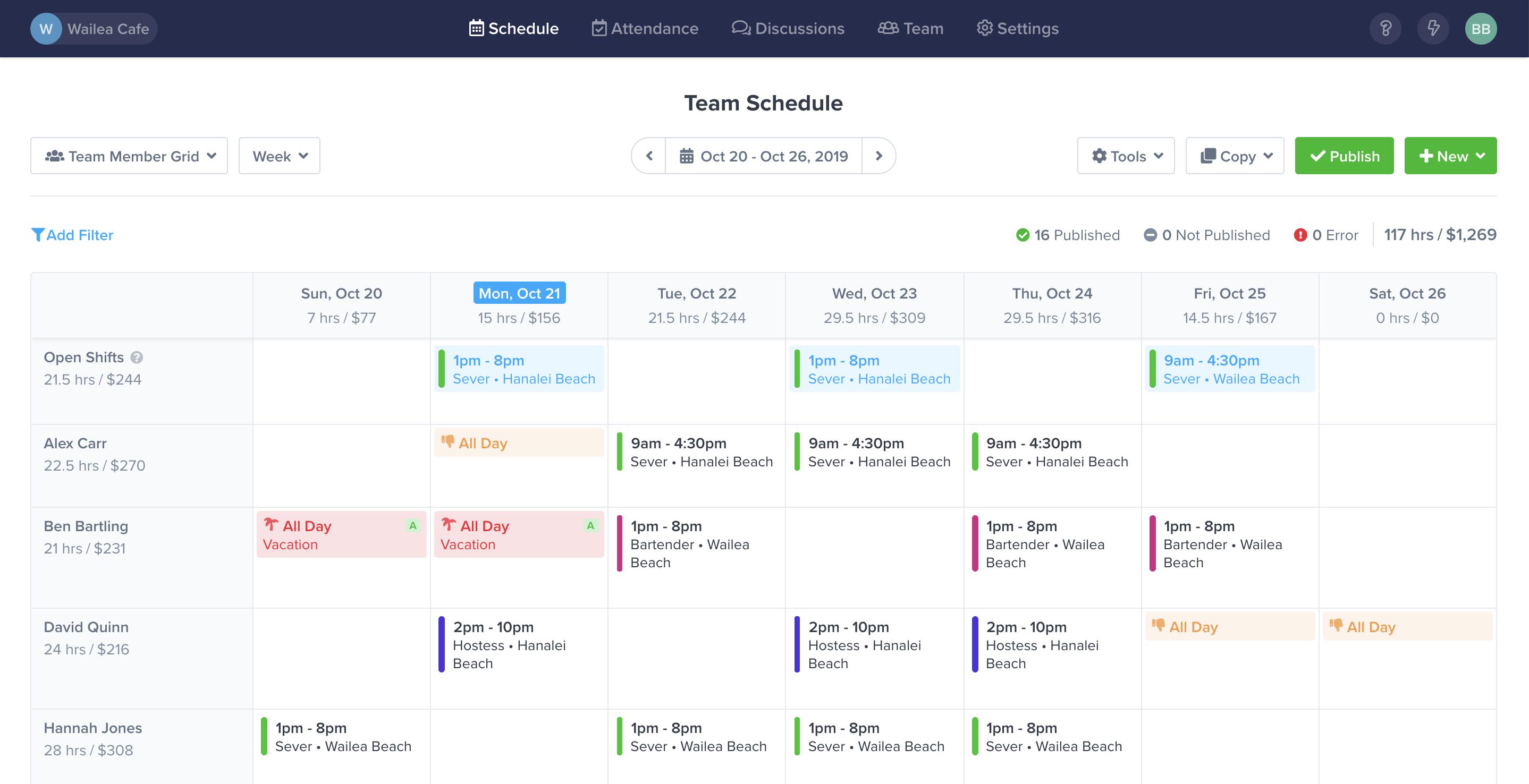 ZoomShift team schedule calendar