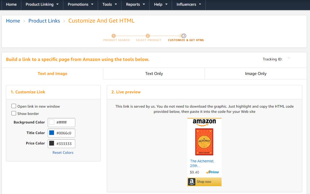 Amazon Associates affiliate program interface