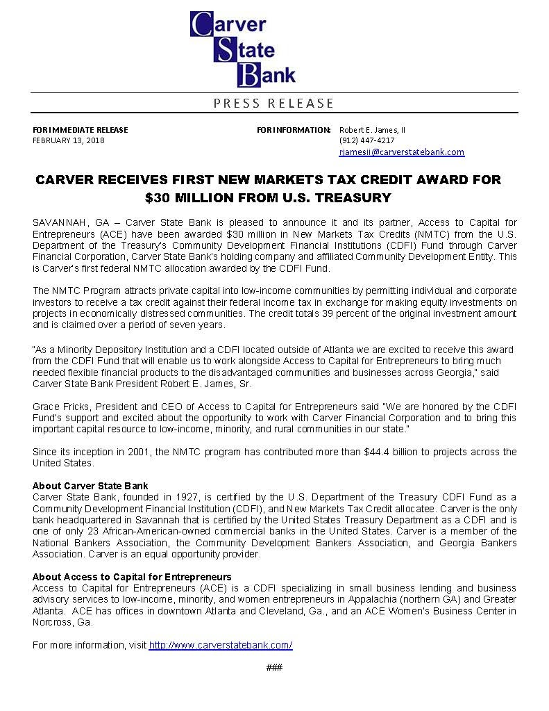 Award Press Release for Carver State Bank