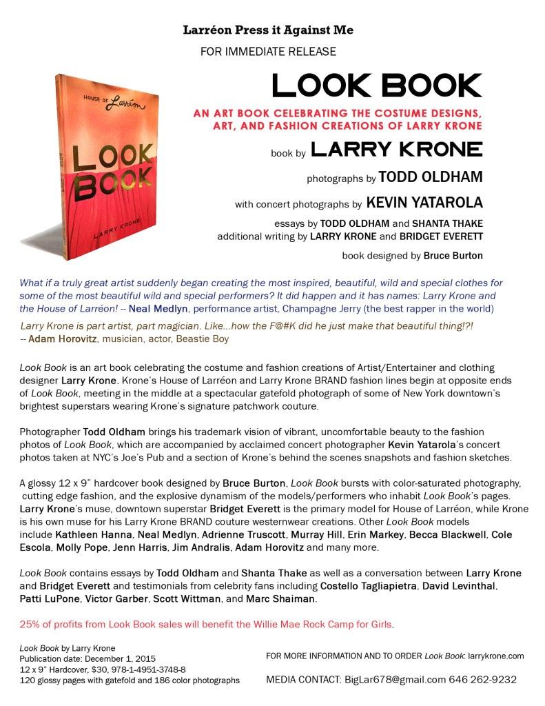 Look Book by Larry Krone press release