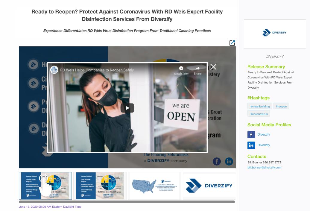 Business Wire Diverzify Multimedia Interactive Press Release
