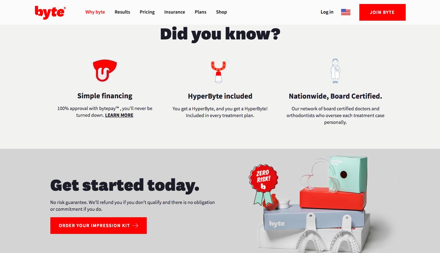 Byte Website UX Design Example