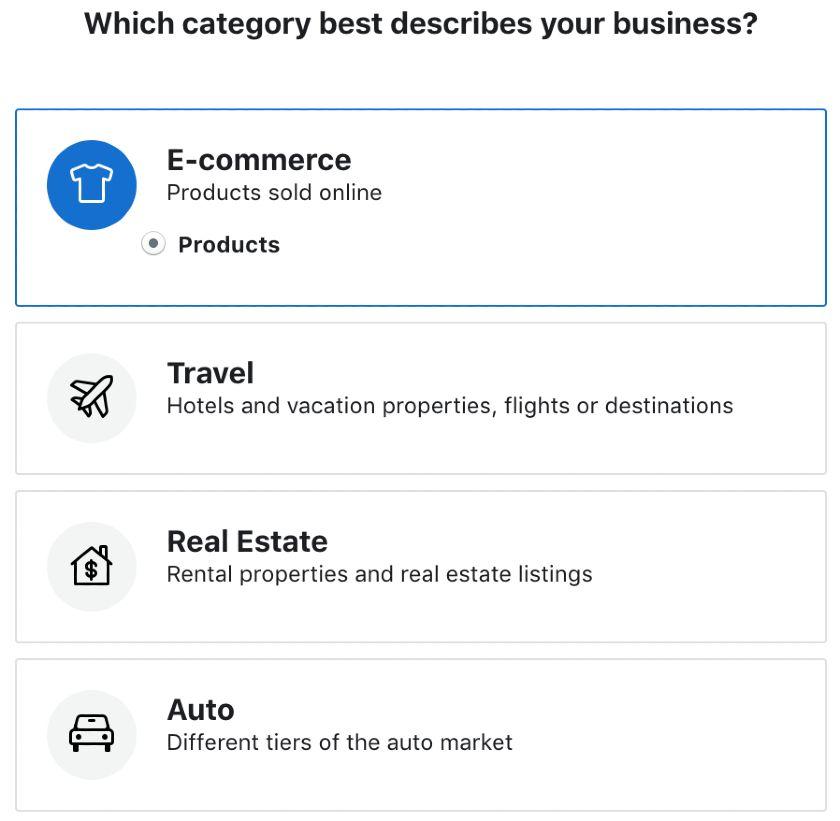 Screenshot of Categories Best Describes Business