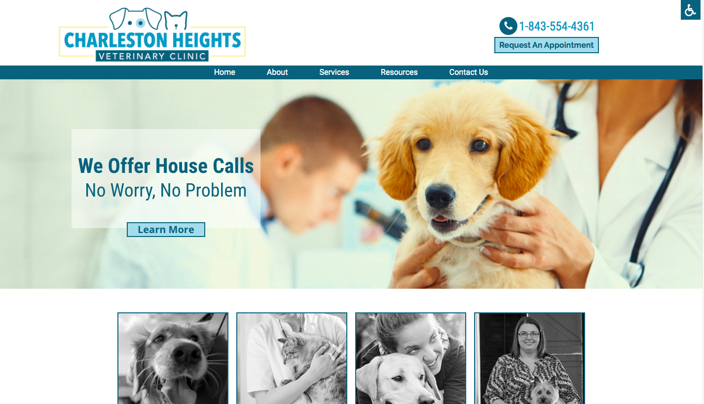 Charleston Heights Veterinary Clinic Website Example