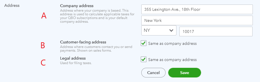 Enter or change addresses in QuickBooks Online